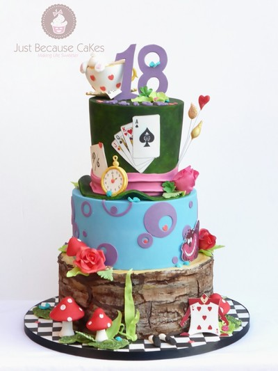 Whimsical Alice in Wonderland 18th Birthday Cake, Just Because CaKes, Burnham, Berkshire