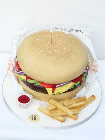 Food Cakes, Burger and Chips 18th Birthday Cake, Just Becasue CaKes, Cakes in Berkshire