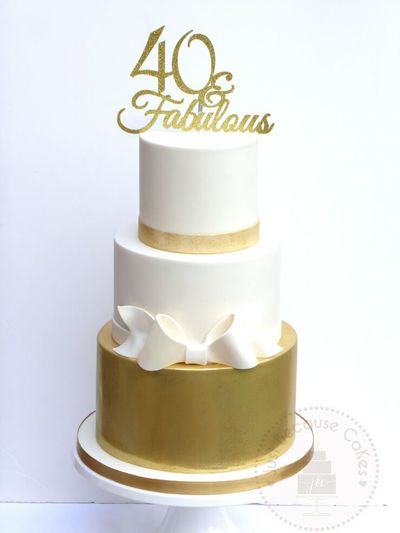 3 tier 40th Birthday Cake,  40 and Fabulous, ivory and gold cake with sugar bow, Just Because CaKes, Windsor, Berkshire