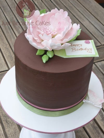 Rustic Ganache Cake with Sugar Peony, Just Because CaKes, Cakes in Berkshire