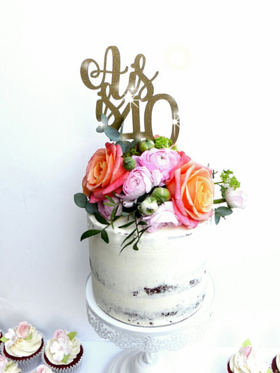 Semi Naked 40th Birthday Cake, Cake with glittery gold acrylic topper with fresh flowers Just Because CaKes, Burnham, Berkshire